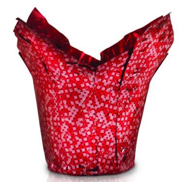 Pot Cover Metallic Glisten Red